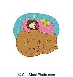 女の子, bear., 睡眠