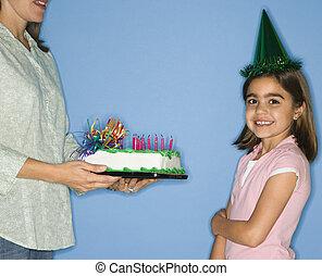女の子, birthday, 得ること, cake.