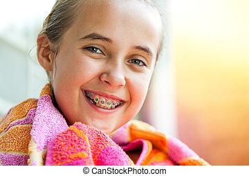 女の子, braces., 歯医者の, かわいい
