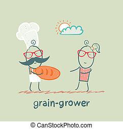 女の子, bread, 穀粒, 栽培者, 与える