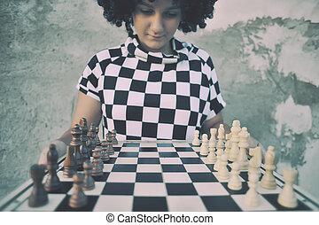 女の子, chess., ゲームを すること