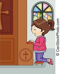 女の子, confession, 子供, 教会