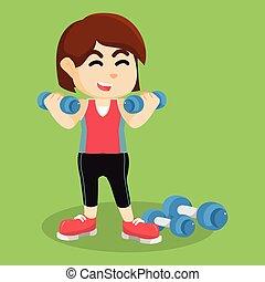 女の子, dumbell, 運動