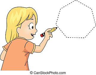 女の子, heptagon, 跡, 子供