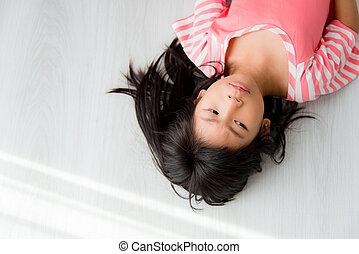 女の子, home., アジア人, あること, 床