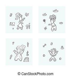 女の子, illustration., いたずら書き, ベクトル, 力, スタイル