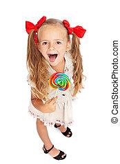 女の子, lollipop, 幸せ