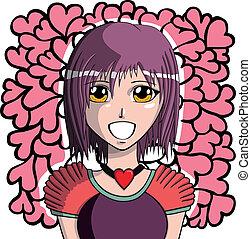 女の子, manga, 若い
