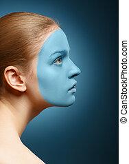 女の子, mask., 若い, 美顔術
