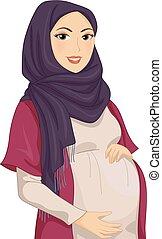 女の子, muslim, イラスト, 妊娠した