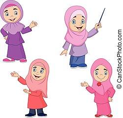 女の子, muslim, セット, 漫画, コレクション