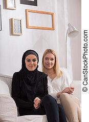女の子, muslim, 彼女, 友人