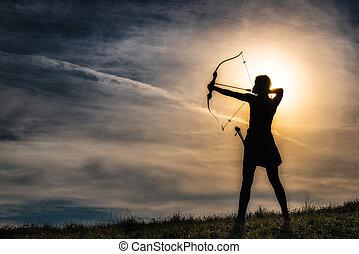 女の子, olympus, 弓