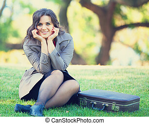 女の子, outdoor., スーツケース