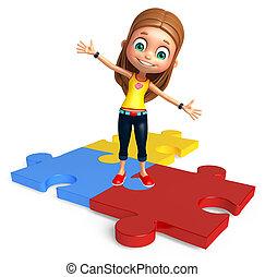 女の子, puzzel, 子供