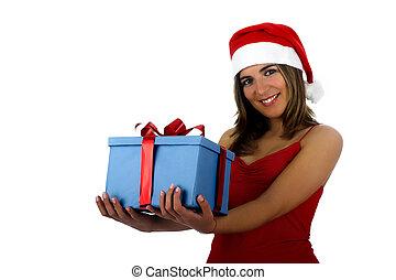女の子, santa, 贈り物
