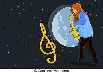 女の子, style., 音楽家, saxophone., 音楽, 遊び, 創造的, concept., ジャズ, ミュージカル