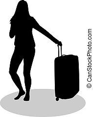 女の子, suitcase.