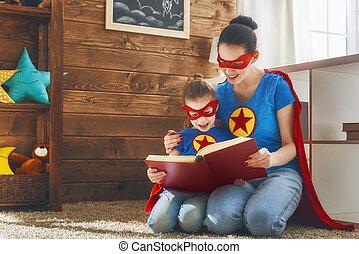 女の子, superhero, 衣装, お母さん