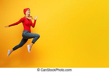 女の子, vitality., 背景, 操業, 黄色, fast., 概念, エネルギー