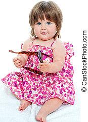 女の赤ん坊, モデル, ∥で∥, 陰, 中に, 彼女, 手
