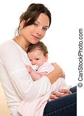 女の赤ん坊, リラックスした, ∥で∥, おしゃぶり, 抱擁, 中に, 母, 腕