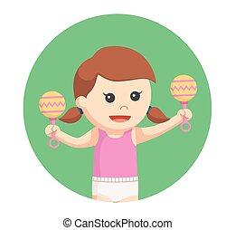 女の赤ん坊, 円, 背景, おもちゃ