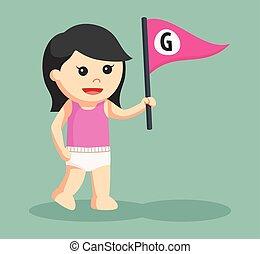 女の赤ん坊, 旗, 手紙g