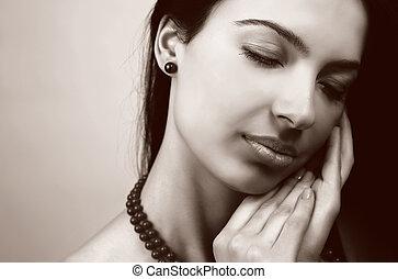 女らしい, 女,  sensual, 美しさ, 肖像画