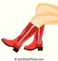 女らしい, 足, ブーツ