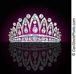 女らしい, 黒, 反射, 王冠