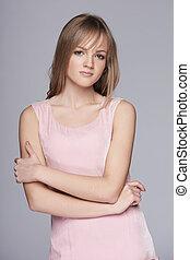 女らしい, 10代少女, 中に, ピンクのドレス, ポーズを取る