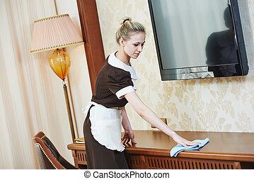 女中, ホテル, サービス