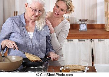 女儿, 她, 帮助, 妈妈, 年长者, 厨房