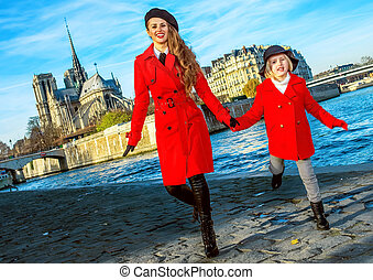 女儿, 巴黎, 妈妈, 旅游者, 时间, 乐趣, 有