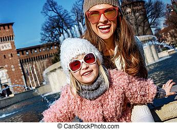 女儿, 旅游者, 妈妈, 米兰, 时间, 乐趣, italy, 有