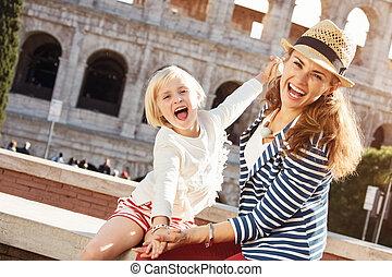 女儿, 时间, 旅游者, 妈妈, 乐趣, colosseum, 有