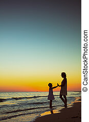女儿, 时间, 有, 活跃, 妈妈, 乐趣, 旅游者