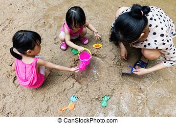 女儿, 汉语, 一起, 沙子, 亚洲人, 妈妈, 玩
