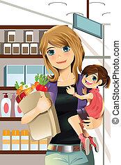 女儿, 購物, 母親