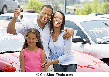 女儿, 购物, 汽车, 父亲, 年轻, 妈妈, 新