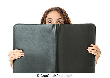 女商人, 後面, the, 文件夾, 由于, 使震惊, 眼睛