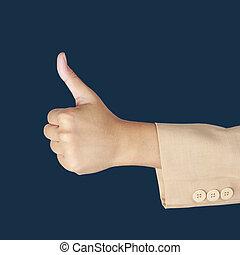 女商人, 手, 由于, 拇指, 提高