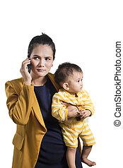 女商人, 由于, 她, 嬰儿, 孩子