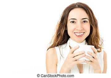 女商人, 由于, a, 咖啡茶杯
