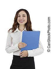 女商人, 站立, 由于, a, 文件夾, 在, 她, 手
