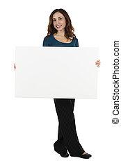 女商人, 顯示, a, 空白, 招貼, 由于, 模仿空間