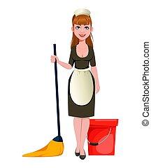 女士, 妇女, 打扫, 少女
