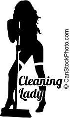 女士, 热, 侧面影象, 打扫