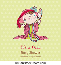 女嬰, 陣雨, 以及, 到達, 卡片, -, 由于, 地方, 為, 你, 正文, 在, 矢量